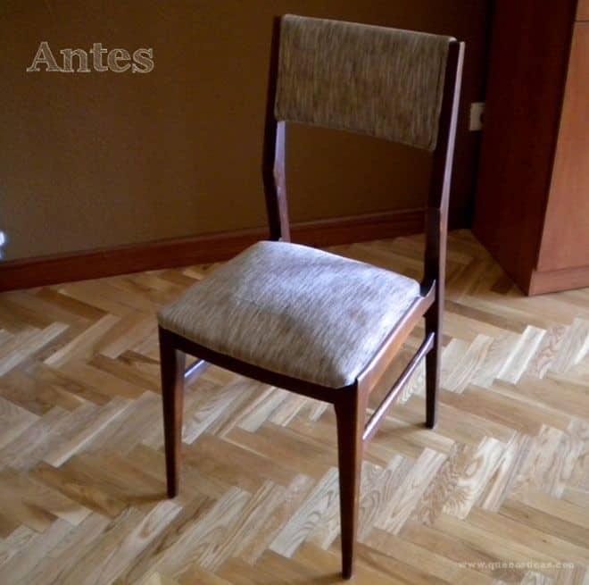 el antes de una silla restaurada