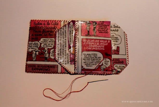 diy cartera con papel de comic