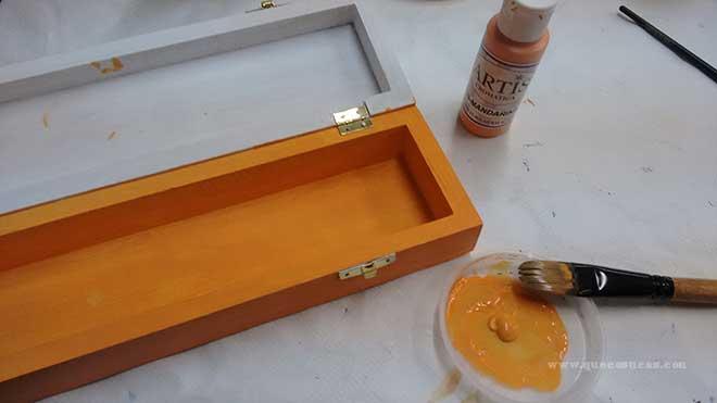 pintura acrilica caja madera