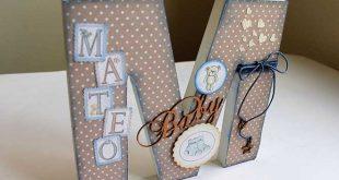 Letra decorada M para niño