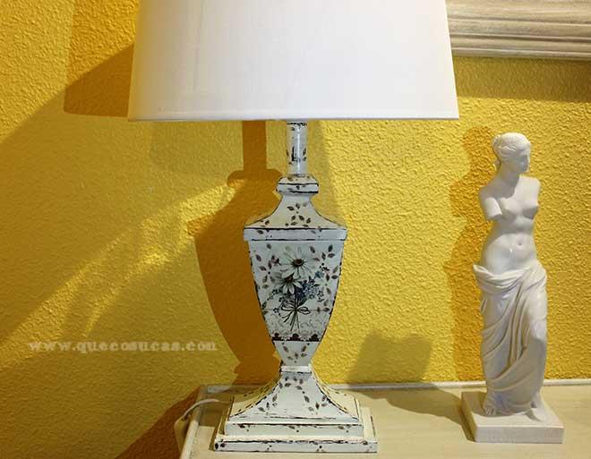 lampara decorada mano decoupage dyi